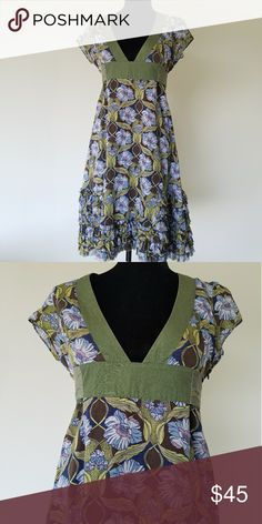 BOGO Sale! Free People Dress Green, floral print Free People Dress. Short sleeve, ruffles on bottom. Zips up left side. Excellent condition. No flaws. I'm a suggested user & top rated seller open to negotiating prices and give great bundle deals. Use the offer button & don't hesitate to ask questions. :) Xoxo Ansley Free People Dresses
