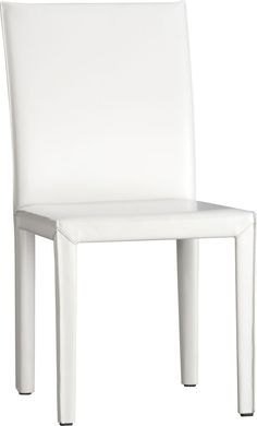 Folio White Bonded Leather Leather Side Chair    Crate and Barrel