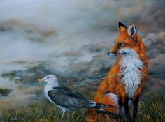 Wendy Vaughan, Leading the Fox, oil on panel