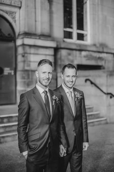 Image by James & Leanne Wedding Photographers - A gay wedding in Leeds city centre with bright colour scheme and club style reception
