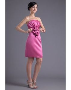 Fuchsia Strapless Satin Short Cocktail  Homecoming  Wedding Guest Dresses  Inexpensive Bridesmaid Dresses 22ff8cc02933