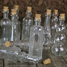 Vintage Glass Bottles with Corks, Assorted, 5 inch, Set of 10, Clear