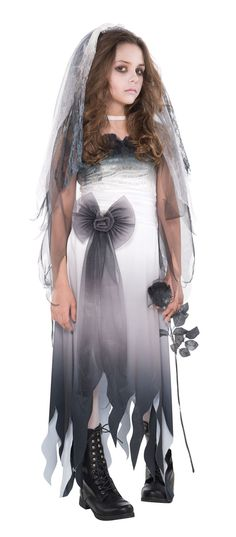 Girls Halloween Graveyard Bride Zombie Costume Teens Cute and Creepy Halloween Party or trick and treat ready fancy dress