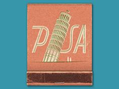 I love the subtle complementary colour palette (pink and green) and how the type is italicised, mimicking the leaning Pisa tower. Bud Light, Light My Fire, Vintage Type, Vintage Prints, Vintage Designs, Vintage Stuff, Italy Images, Matchbox Art, Vintage Packaging