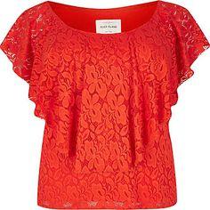 RI Plus red daisy lace bardot top $30.00