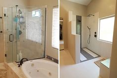 Before and after bathroom remodel, walk-in shower