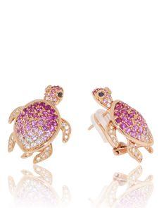 Turtle Earrings, Rubies, Black Diamond, Rose Gold, Unique, Jewellery, Jewelry