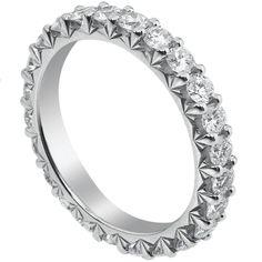 Shared prong diamond wedding band
