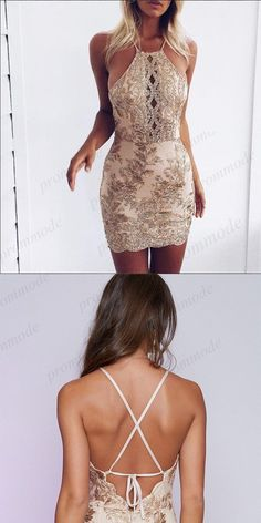 224b2f10d6e Sexy Backless Gold Lace Applique Homecoming Dresses With Beading