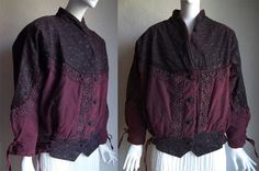 Vintage 80s Italy Laced High Waist Dyed Bomber Jacket M/L by funquejunque