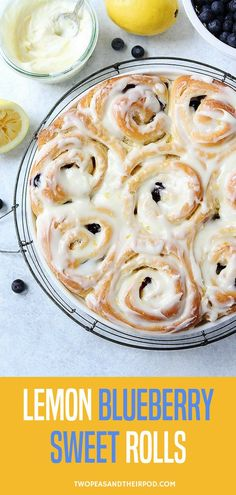 Lemon Blueberry Sweet Rolls Are Soft Sweet Rolls That Are Bursting With Fresh Blueberries And Covered In Lemon Cream Cheese Frosting. They Are The Perfect Treat For Breakfast Or Brunch. Make them for Easter, Mother�s Day, 4th of July, baby showers, bridal