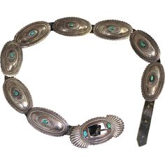 Rare Kenneth Begay Navajo Native American Sterling Silver & Turquoise from nhantiquecoop on Ruby Lane Concho Belt, Navajo Jewelry, American Indian Jewelry, Silver Belts, Native American Indians, Ruby Lane, Hippie Style, Adobe, Ties