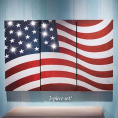Since its 3 pieces, it would look nice with a little separation between the pieces.LED Lighted American Flag Canvas Set - 3 pc