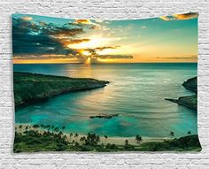 Ambesonne Hawaiian Decorations Collection, Sunrise Over Hanauma Bay On Oahu, Hawaii Sunbeams Through Dark Clouds Shoreline, Bedroom Living Room Dorm Wall Hanging Tapestry, 60W X 40L Inch -- Click image to review more details.