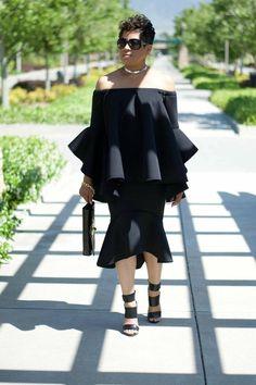 d83816fdc49 Hors épaule noir chemisier et jupe noir tenue jupe noire et Top Hobo tenue  robe noire soirée porter occasionnel robe occasionnelle tenue