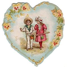 Vintage 1920s Heart Shaped Victorian Kids Valentine Card Embossed To My Sweetheart