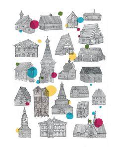Wooden Buildings by Lizzy Stewart