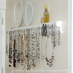 Homemade necklace hanger/organizer. I would use wooden dowels to keep the jewelry from tarnishing by touching metal, but great idea and great inspiration. This is a step-by-step how to.