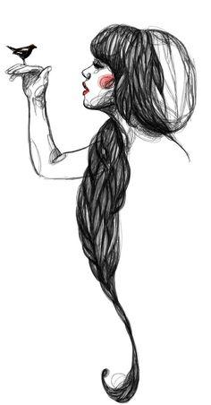 Illustration by Paula Bonet Sketch Manga, Drawing Sketches, Art Drawings, Sketching, Drawing Ideas, Paula Bonet, Arte Sketchbook, Art Et Illustration, Girl Illustrations