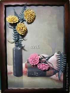 Картина, рисунок, панно Квиллинг: Гвоздики. Бумажные полосы. Фото 1