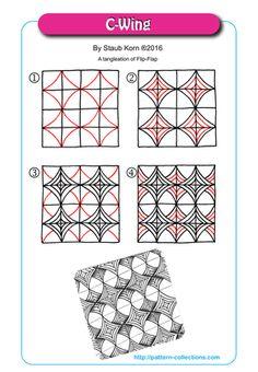 C-Wing Tangle, Zentangle Pattern by Staub Korn