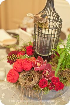 Bird cage pin said: Mimosa Flower Studio Rustic Wedding Centerpieces, Flower Centerpieces, Wedding Decorations, Christmas Decorations, Table Decorations, Vintage Centerpieces, Vintage Lanterns, Centrepieces, Christmas Centerpieces