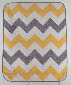 Baby Chevron Yellow & Grey Quilt Kit