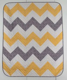 Baby Chevron Yellow & Grey Quilt Kit by Pipersgirls on Etsy, $39.99