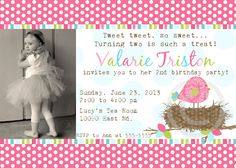 Pink Birds Nest Printable Photo Invite for Baby by BeeAndDaisy, $12.00