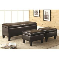 Benches 3 Piece Storage Bench and Ottoman