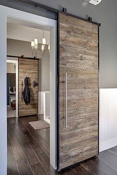 Sliding barn door design ideas for your home with mirror, window. Interior and exterior sliding barn door for your bathroom, bedroom, closet, living room. Style At Home, Industrial Interiors, Industrial Design, Kitchen Industrial, Industrial Lighting, Industrial Style, Modern Interiors, Industrial Apartment, Industrial Windows