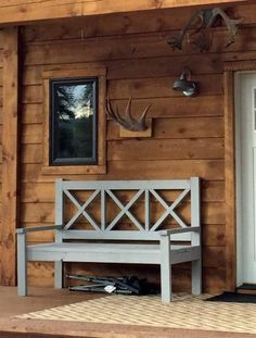 Large Porch Bench - Alaska Lake Cabin   Very sturdy and excellent instructions.