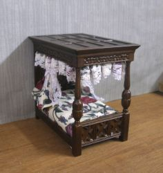 "Sale Half Scale 1 2"" Scale Covered Bed JBM Dollhouse Miniature 1 24 