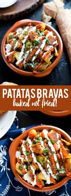 These patatas bravas are crispy even though they are baked not. These patatas bravas are crispy even though they are baked not fried! Topped with a delicious smoky salsa brava and garlic aioli they are totally addictive! Tapas Recipes, Appetizer Recipes, Vegetarian Recipes, Dinner Recipes, Appetizers, Cooking Recipes, Healthy Recipes, Tapas Ideas, Vegetarian Tapas