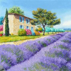 Pattern Art Landscape Jean Marc Janiaczyk The Field Flower Lavender Provence House Tree Bush Mountain. dining table with glass top. Impressionist Paintings, Impressionism, Landscape Art, Landscape Paintings, Lavender Fields, Lavander, Hyperrealism, Purple Flowers, Lavender Flowers