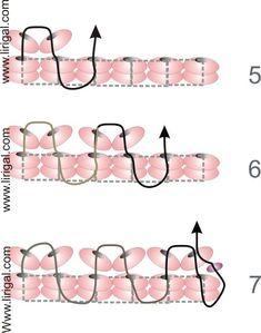 Patterns.Basic Flat Herringbone (Ndebele) stitch.Beading Schema.Master class