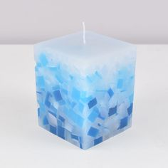 Vela Quadrada Mosaico Artesanal Azul 8x8x10cm BLUE Handmade Candles, Diy Candles, Handmade Soaps, Crafts To Sell, Diy And Crafts, Candle Making Supplies, Candle Craft, Candlemaking, Beautiful Candles