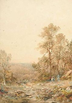 Albert Pollitt - River Landscape watercolour dated 1916 35.5 cm x 25 cm