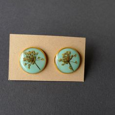 Fennel Flower gold plated stud earrings - mint, teal - handmade flower jewelry $30.00