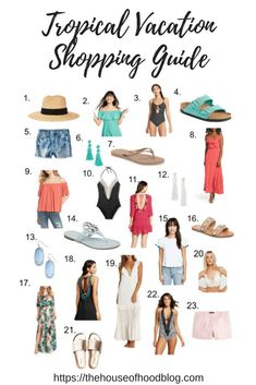 Tropical Vacation Shopping Guide for Women - What to shop for when you're getting ready for a tropical or warm weather vacation! We are heading to the Bahamas sans kids and I am having so much fun planning for our trip! Mexico Vacation Outfits, Tropical Vacation Outfits, Packing List For Vacation, Honeymoon Outfits, Vacation Wardrobe, Cruise Outfits, Bahamas Vacation, Travel Outfits, Packing Lists