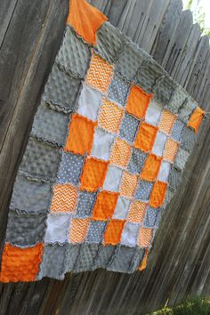 STUNNING Orange Gray & White CHEVRON and POLKA DOT Rag Quilt/Blanket! Would be fabulous baby boy nursery bedding! (orange and gray nursery, orange and grey nursery, baby boy nursery, crib bedding, orange chevron nursery), by BabyBazerk, $75.00