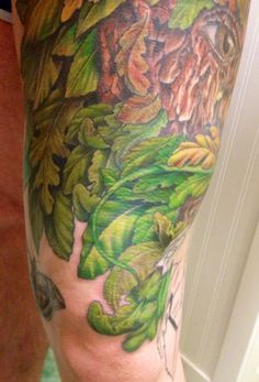 Session 15, 10/10/14, Greenman tattoo, start of moustache & beard by Craig Smith at Skin Graphics, Lowestoft, UK