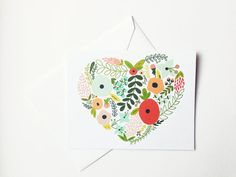 Floral Heart Illustrated Notecard Set | Print Stitch and Paste