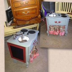 Night stand turned play kitchen