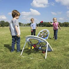 Kids Cornhole Game from One Step Ahead: The most kid-friendly cornhole game weve found! These smart cornhole platforms are covered with oversized holes, which makes it easier for kids to score. And unlike bulky wood bag toss boxes, they break down for easy storage and take along. Each hole has a points value, so kids sharpen their math skills as well as their aim. Great family game! Play solo, one-on-one, or as teams...