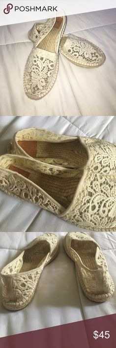 Tory Burch Creme Lace Spanish Espadrilles Great worn condition! No major flaws. No rips or steins! Tory Burch Shoes Espadrilles