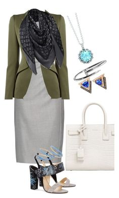 """""""Outfit for work"""" by fashionrushs ❤ liked on Polyvore featuring MaxMara, Paul Andrew, Yves Saint Laurent, London Road, LE VIAN, Alexander McQueen and Louis Vuitton"""