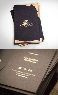 Freeform Gold Foiled Black Business Card For A Graphic Designer
