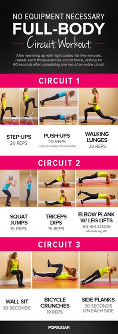 You have no excuses not to do this full-body circuit workout. Not only can you do it almost anywhere, but you don't need any special equipment (just a wall and a chair or bench). The entire workout takes about 20 minutes; first warm up with about five minutes of light cardio, then repeat each of these circuits twice.