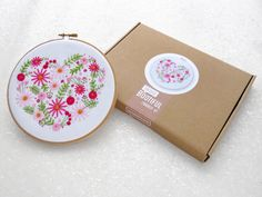 Heart Hoop Art Kit Pink Flower Embroidery Set DIY Mothers